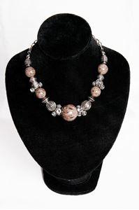 Afbeelding van Bruin/grijse stenen ketting met strass tonnetjes/metaal/parels